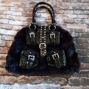 Black fuzzy large hand bag
